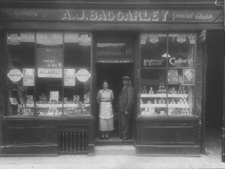 Picture: Albert and Alma Baggarley at the door of their Brooksby Street general store, taken around 1940.